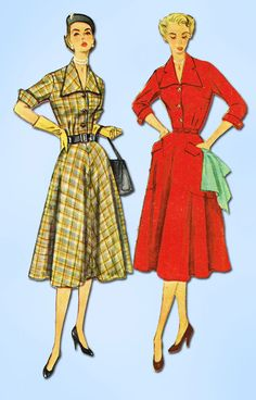 """Simplicity Pattern 3691 Misses' Dress Pattern Charming Notched Collar Dated 1951 Factory Folded and Unused New Old Stock Design Counted. Verified. Guaranteed. Size 12 1/2 (31 1/2"""" Bust) We Sell the Be"""