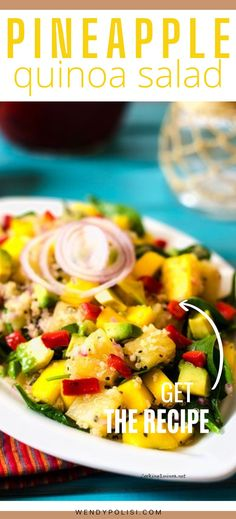 Looking for a delicious vegan salad? You will love this Avocado Mango Pineapple Quinoa Salad! It is so easy to make and full of flavor. Quinoa Recipes Easy, Vegetarian Salad Recipes, Healthy Gluten Free Recipes, Vegan Dinner Recipes, Vegan Breakfast Recipes, Granola, Easy High Protein Meals, Veggie Side Dishes, Muesli