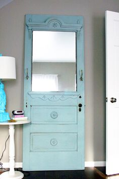 Cool idea, turn door into a mirror! This site has tons of DIY projects and cute decorations! | brooklyn limestone
