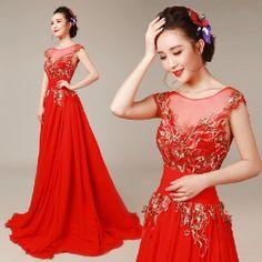 Designer Red Chiffon Cap Sleeve Wedding Masquerade Evening Ball Gowns SKU-118159