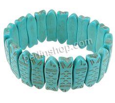Mode Türkis Armbänder, Synthetische Türkis, mit elastischer Faden, Fisch, blau, 9x28.50x5mm, Länge:ca. 7 Inch