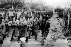 Ottoman army lead by pippers march through Damascus