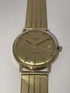 07b40a69872 14 krtPontiac Memodate - Heren Horloge-jaren '80 datum 3 sterren Vintage gouden  horloge