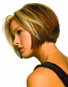 Brown bob haircut with side part and face framing blonde highlights hairstyle