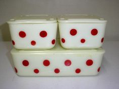 Vintage McKee red dot refrigerator set: