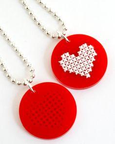 DIY Cross Stitch Necklace Kit, Red Heart Pendant via Etsy.