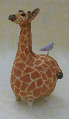 Miniature fat giraffe ceramic sculpture with by KarenFincannon