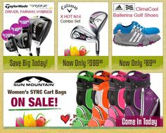 Mother's Day is just around the corner.  Save big on your Mom's favorite golf gear from TaylorMade, Callaway, Adidas, and Sun Mountain.  Come in today for all the savings!