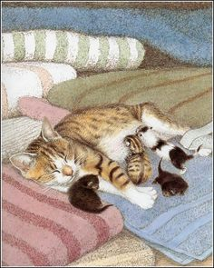 Don't know whose work this is. Anyone? Wow the kittens are all so different