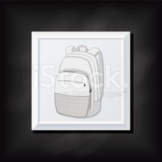 Grey Backpack On A Square Blackboard Icon royalty-free stock vector art
