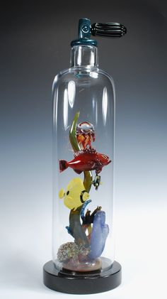 """flameworked lampworked glass sculpture """"Scuba Tank Sea life"""" Coral reef Scuba Dive Tank.  Tropical Fish and coral inside blown glass tank. 26 inches tall.  Artists: Jeremy Sinkus / Will D'Errico"""