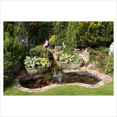 GAP Photos - Garden & Plant Picture Library - Small garden pond with fountain, waterfall, rockery, lighting and ornaments - GAP Photos - Specialising in horticultural photography