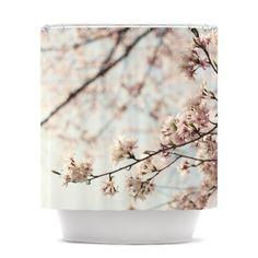 Pretty Cherry Blossom Shower Curtain - tree and blossoms.  #cherrybshowercurtainscglam