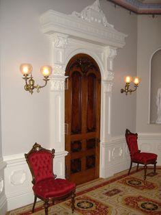 Victorian doorway and gaslights