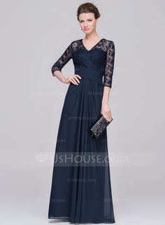 A-Line/Princess V-neck Floor-Length Ruffle Zipper Up Sleeves 1/2 Sleeves No 2015 Dark Navy Spring Summer Fall Winter General Plus Chiffon Lace Mother of the Bride Dress