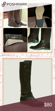"""LOFT Knee-High Riding Boots - New!! *Size 8.5 (runs about half-size smaller)  *Man-made upper-front, elasticized back *Dark-brown color *Height: 17"""", Shaft circumference:  15.5"""" *Never Been Worn! Comes without shoebox LOFT Shoes Heeled Boots"""