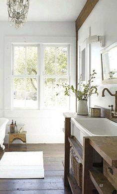 bathroom vanity - Maisons Blanches  Wood vanity with dark floor