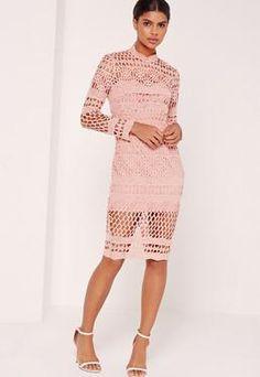 Lace High Neck Midi Dress Pink