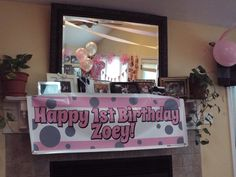 Pink and Grey Happy 1st Birthday sign from Shindigz.com