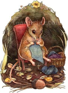 A signed print of the Knitting Mouse painting by Kim Parkhurst. The image area is 5 x 7 on a sheet of 8 x 10 paper. Didnt you always wonder what Art And Illustration, Mouse Paint, Knitting Humor, Knitting Socks, Knit Art, Cute Mouse, Sign Printing, Belle Photo, Fiber Art