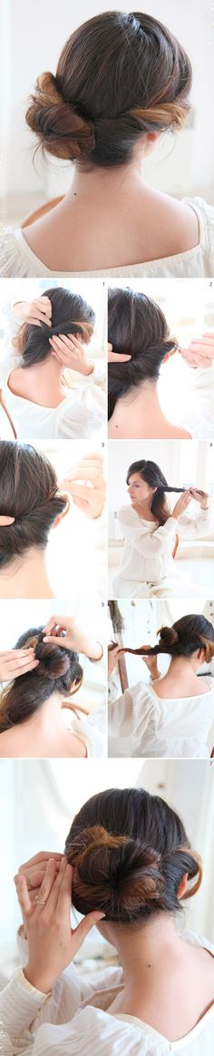 Chignon Bun Updo #wedding #hair #ideas