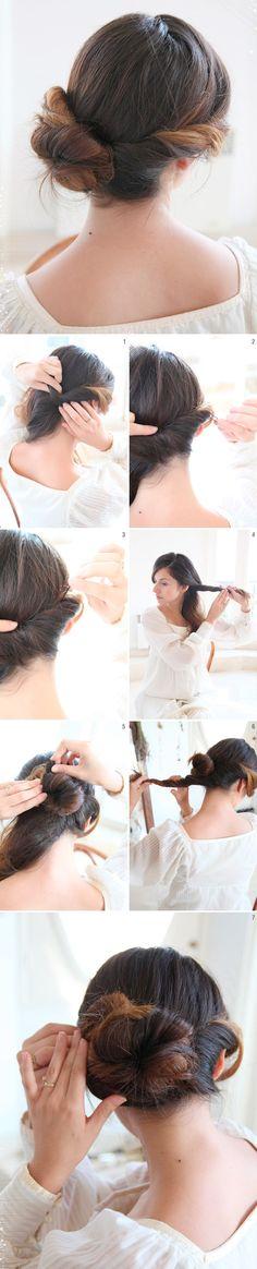 Chignon Bun Updo #wedding #hair #ideas