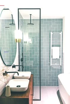 Modern Farmhouse, Rustic Modern, Classic, light and airy master bathroom design a few ideas. Bathroom makeover ideas and master bathroom renovation suggestions. House Bathroom, Bathroom Inspiration, Small Bathroom Makeover, Bathrooms Remodel, Bathroom Interior Design, Bathroom Decor, Bathroom Design, Small Remodel, Shower Room