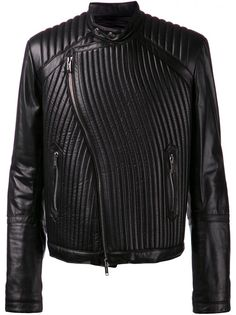 LES HOMMES - Ribbed Leather Moto Jacket - VE144L 755 0999 - H. Lorenzo