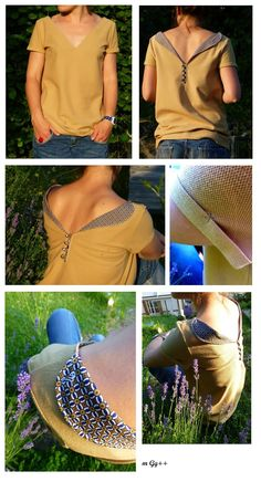 """T-shirt """"paiLLe"""" (Patron house and tutorial available in size on request … Diy Clothing, Sewing Clothes, Clothing Patterns, Sewing Patterns, Diy Couture, Couture Sewing, Couture Tops, Shirt Refashion, Diy Shirt"""