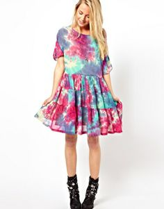 Image 4 ofASOS Smock Dress In Tie Dye With Tiers