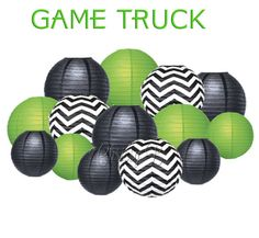 GAME TRUCK Deluxe Party Decorations - Paper Lantern Party Kit -  Green, Black, Chevron - Birthday Party, Game Truck Party