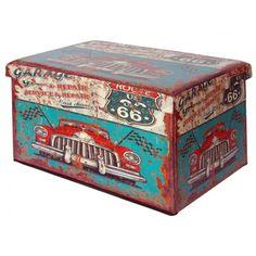 Puff baúl plegable estilo vintage Route 66