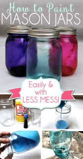 Painting or tinting jars can be pretty sloppy work. With our great tips you will learn not only how to paint mason jars easily but with very little mess!
