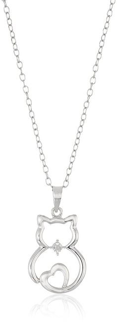 Sterling Silver Diamond Accented Cat Pendant Necklace, 18' -- Click on the image for additional details.