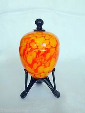 Rare Art Deco Bohemian Czech FRANC WELZ Orange Footed Candy Sugar Jar Kralik