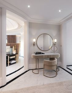 Melding classical design with modern elements, this luxury neoclassical palace features stylish furniture and ornate décor to unify the interior design. Hallway Designs, Foyer Design, Ceiling Design, Neoclassical Interior, Mansion Designs, Palace Interior, Decorative Wall Panels, Recessed Ceiling, Textured Carpet