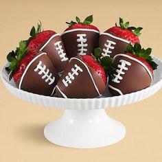 Half Dozen Hand-Dipped Football Strawberries Yes. Fig Cake, Pear Cake, Chocolate Hazelnut Cake, Chocolate Dipped, Chocolate Chocolate, Strawberry Dip, Football Food, Football Desserts, Football Decor