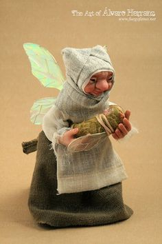 Faery Godmother with baby  ooak art by FuegoFatuo