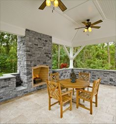 Outdoor Fireplace and Wall in Cast Veneer Stone by EP Henry