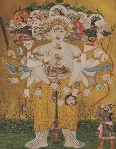 Virat Svarup, Krishna revealing his cosmic form to Arjun. Punjab hills, Kangra, c. 1810-1820