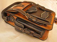 Tableta de hombres de cuero marrón bolso del Mensajero