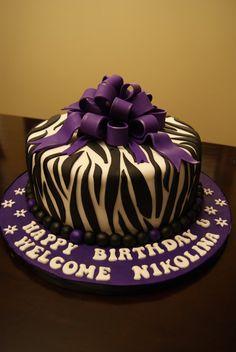 Trendy Zebra Cake by EdibleElegance
