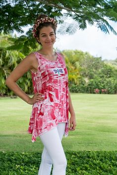 Hand Painted Top  Women's Clothing  Cotton Tunic by #hawaiii #kauai #etsyfashion PetrinaBlakely
