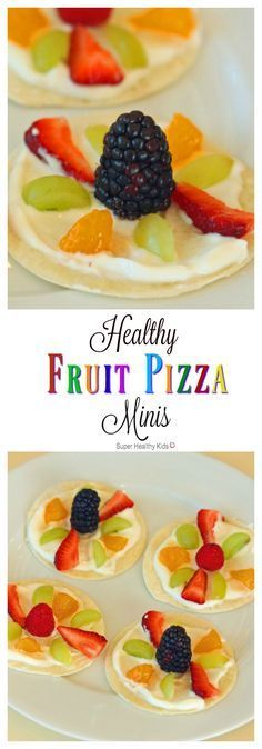 Healthy Fruit Pizza Minis Not your traditional sugar-laden cookie! This healthy fruit pizza recipe takes ten (no-cook!) minutes to make and features wholesome ingredients you can feel good about serving. No Bake Snacks, Snacks Für Party, Party Desserts, Party Recipes, Fruit Party, Fun Fruit, Snacks Recipes, Lunch Snacks, Party Drinks
