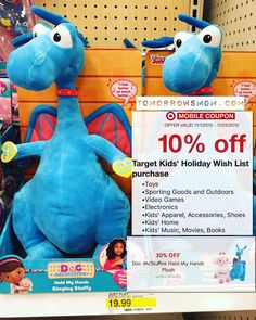 Pre Holiday shopping to save the most. Here are some Target In Store Deals. Tip: Make a new account for the Wish list app coupon so you can save an additional -10% OFF each time. Red Card -5% Off (Debit Card is available apply here no credit check and save %5 on all your purchases) See more details at TomorrowsMom.com.  ______________________________ Mc Stuffins Hold My hand Plush Toys $19.99 -30% Off Cartwheel ($14.00). -10% Wish List App coupon. ($12.60). -5% Off Red Card. Pay: $11.97Tax…