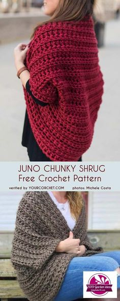 Juno Chunky Shrug Free Crochet Pattern Meadow Lace Shrug free crochet patternHow To Make A Chunky Crochet Scarf That Will Lay…Tunic Crochet PATTERN- Side Buttoned Vest/Ribbed… Pull Crochet, Crochet Baby, Free Crochet, Knit Crochet, Crochet Shrugs, Crochet Cocoon, Crochet Shrug Pattern Free, Easy Crochet Shrug, Patron Crochet