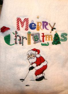 Santa golfing Christmas golf towel