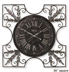 Ridgeway Tuscan 5015 Metal Wall Clock is a large 36 inch square, aged pewter and the black wrought iron clock with cut-out corners with a fern leaf. Tuscan Wall Decor, Tuscan Art, Wall Clock Design, Vintage Pocket Watch, Tuscan Decorating, Shabby Chic Style, Decoration, Metal Working, House Design