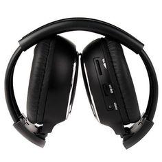 MAHA Hot 1/2 x Double Infrared Stereo Wireless Headphone Headset IR Car DVD Player Headrest Black