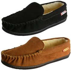 Men's Slippers - Alpine Swiss Yukon Mens Suede Shearling Slip On Moccasin Slippers ** Want to know more, click on the image. (This is an Amazon affiliate link)